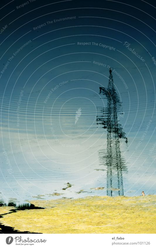 Water Sky Clouds Waves Industry Electricity Cable Electricity pylon Transmission lines