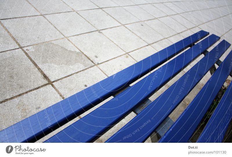 Blue Colour Loneliness Wood Gray Line Gloomy Empty Concrete Places Floor covering Bench Seating Square Diagonal Boredom