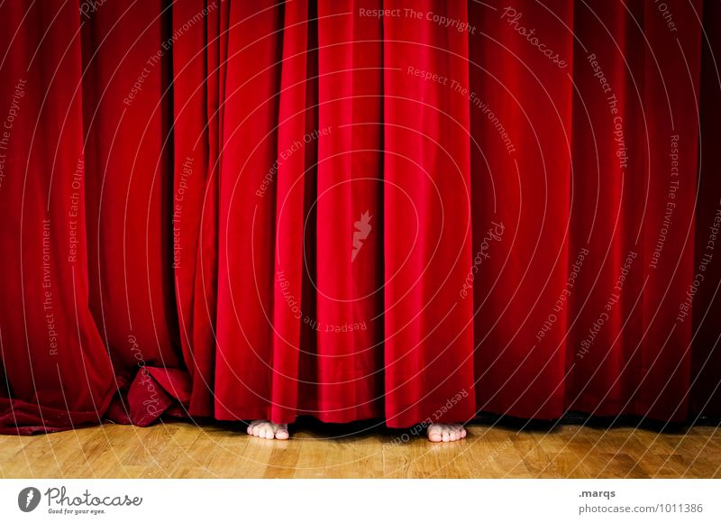stage fright Human being 1 Stage Culture Cinema Beautiful Red Inhibition Hide Drape Barefoot Shows Whimsical Stage play Surprise Event Colour photo