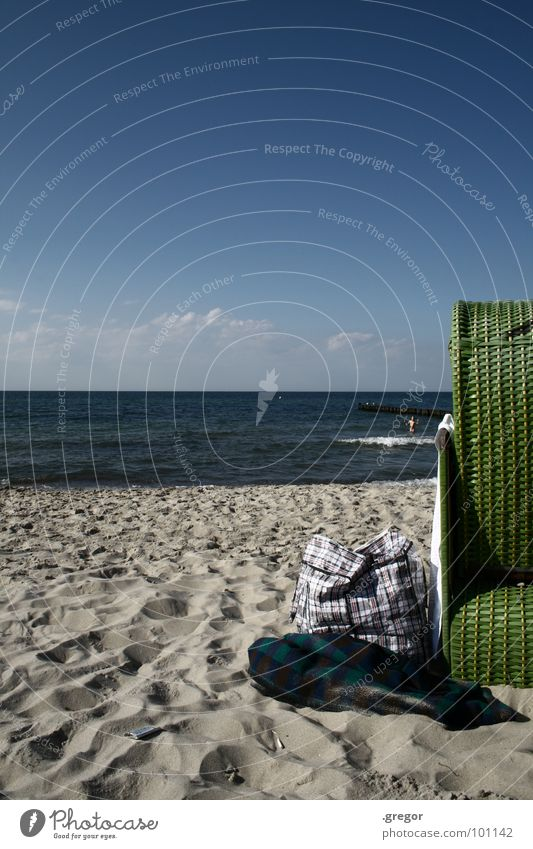 Day at the beach Ocean Beach chair Green Afternoon Relaxation Baltic Sea Water Blue vacation vacation Blanket Swimming & Bathing