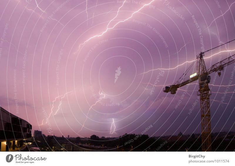 thunderstorms Environment Nature Bad weather Storm Thunder and lightning Lightning Uniqueness Exterior shot Deserted Night Wide angle