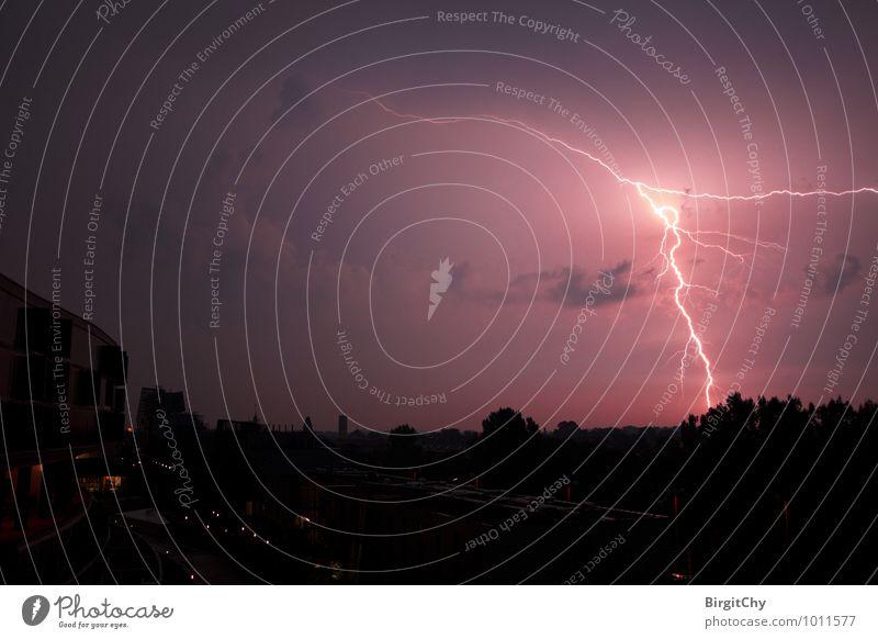 lightning bolt Environment Bad weather Storm Thunder and lightning Lightning Uniqueness Exterior shot Deserted Night Wide angle