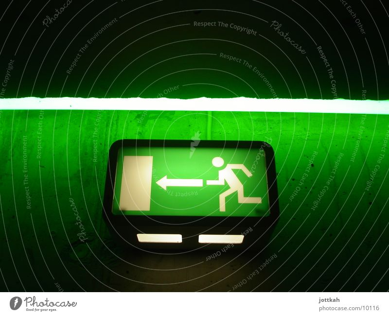 Green Wall (building) Freedom Wall (barrier) Lamp Lighting Door Signs and labeling Running Safety Threat Stress Escape Neon light Way out Pictogram