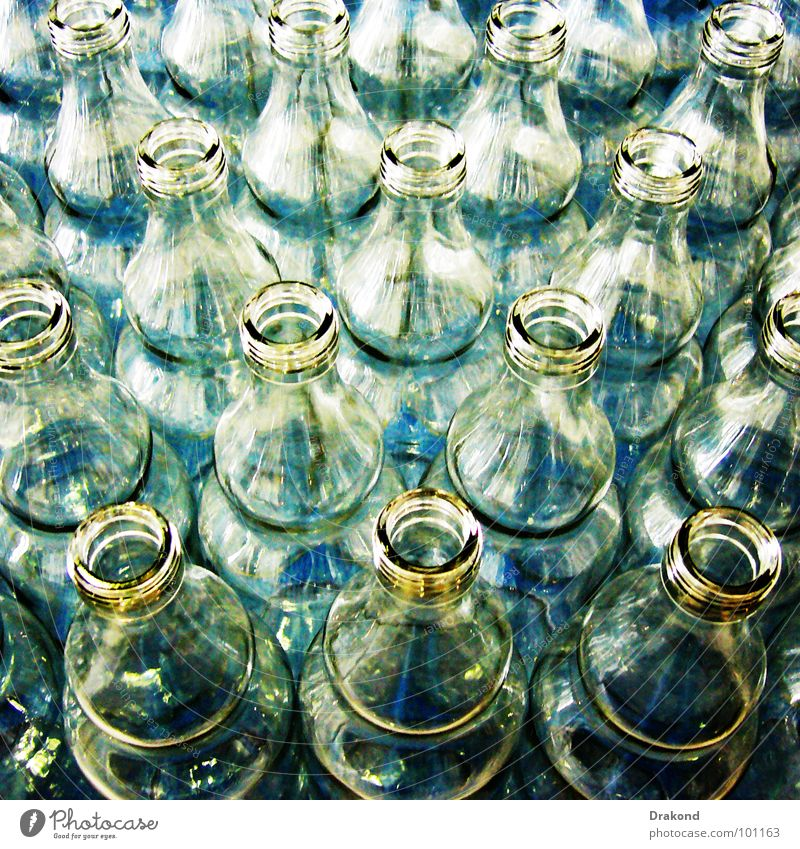 Blue Glass Industry Make Bottle Oil Transparent Ecological Crystal structure Production Package Packaging Recycling Containers and vessels Vinegar