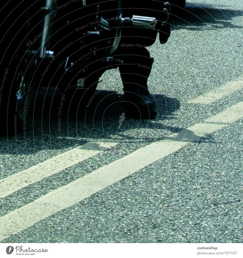 Man Street Transport Motorcycle Traffic infrastructure Boots Rockabilly Rock'n'Roll England Rocker Motorcyclist Brighton Lane markings Accord Royal