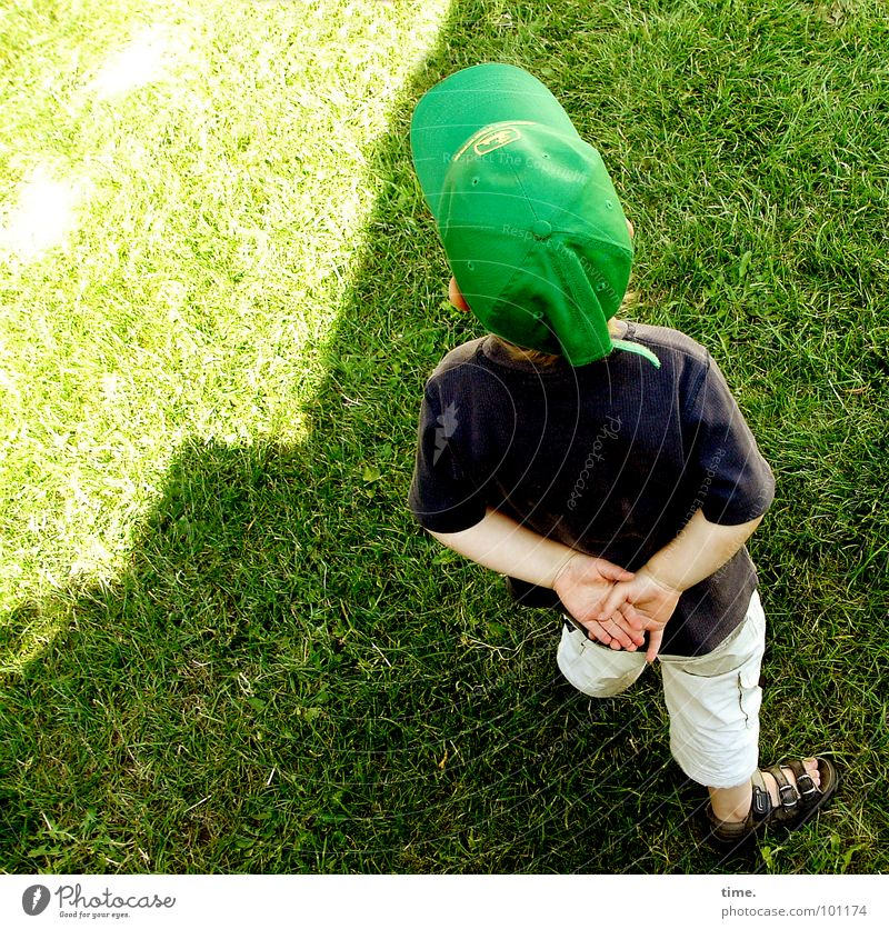 Little Philosopher Light Shadow Looking Contentment Summer Sun Boy (child) Back Meadow Think Green Concentrate Baseball cap Sandal Lawn folded hands ponder
