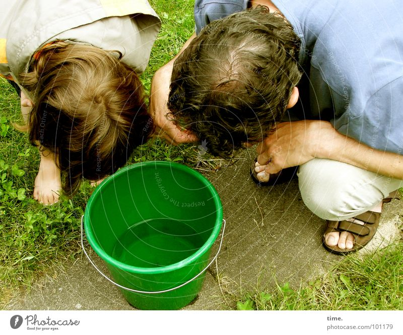 Man Water Summer Garden Hair and hairstyles Head Wait Adults Communicate Insect Father Curiosity Ask Surprise Biology Barefoot