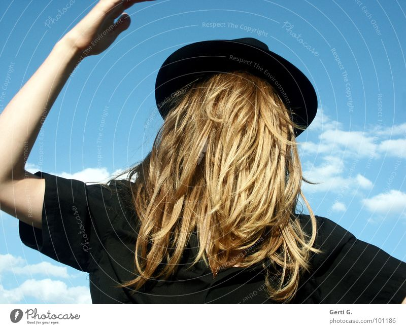 without a view Surrealism False Inverted Man Long-haired Blonde Headwear Camouflage Concealed Invisible Really Mystic Absurd Fantastic Shirt Black Sky blue