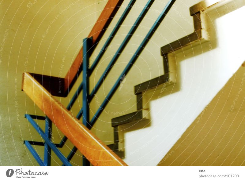 stairwell Dresden Staircase (Hallway) Sunlight Yellowed Employees & Colleagues Wood Industry robotron site Stairs Idea Handrail Blue echoing rear building