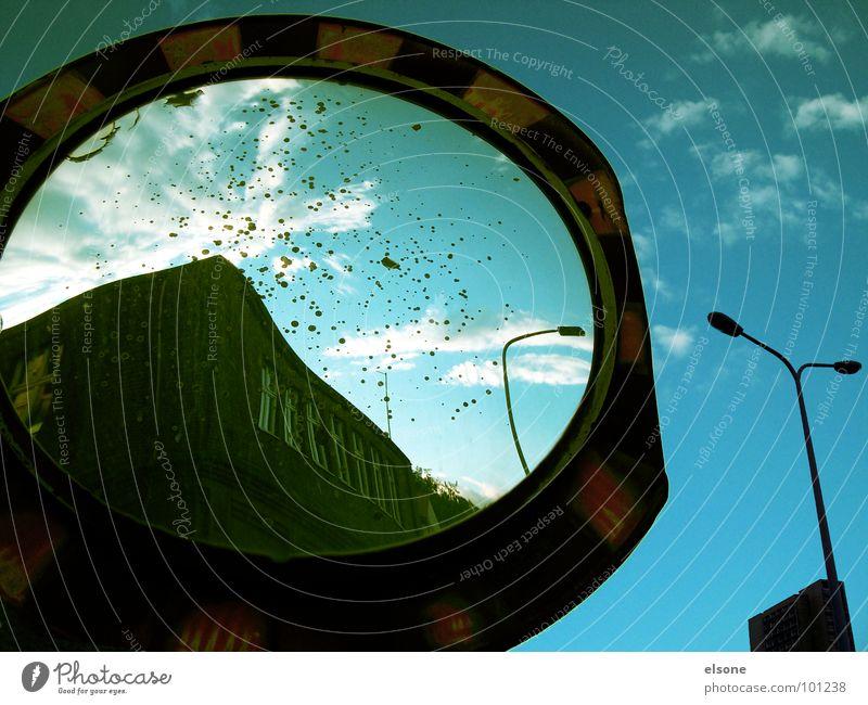 ::GOLDEN TIMES:: Discern Mirror Reflection Black Round Zone Lantern Striped Clouds Yellow Green Riesa Memory Former Dresden Industry Derelict Transience Lens