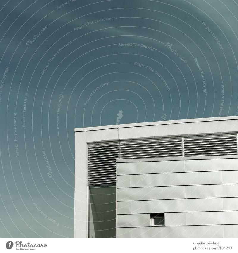 Blue White Window Architecture Metal Modern Stripe Corner Square Disk Cottbus Iron plate