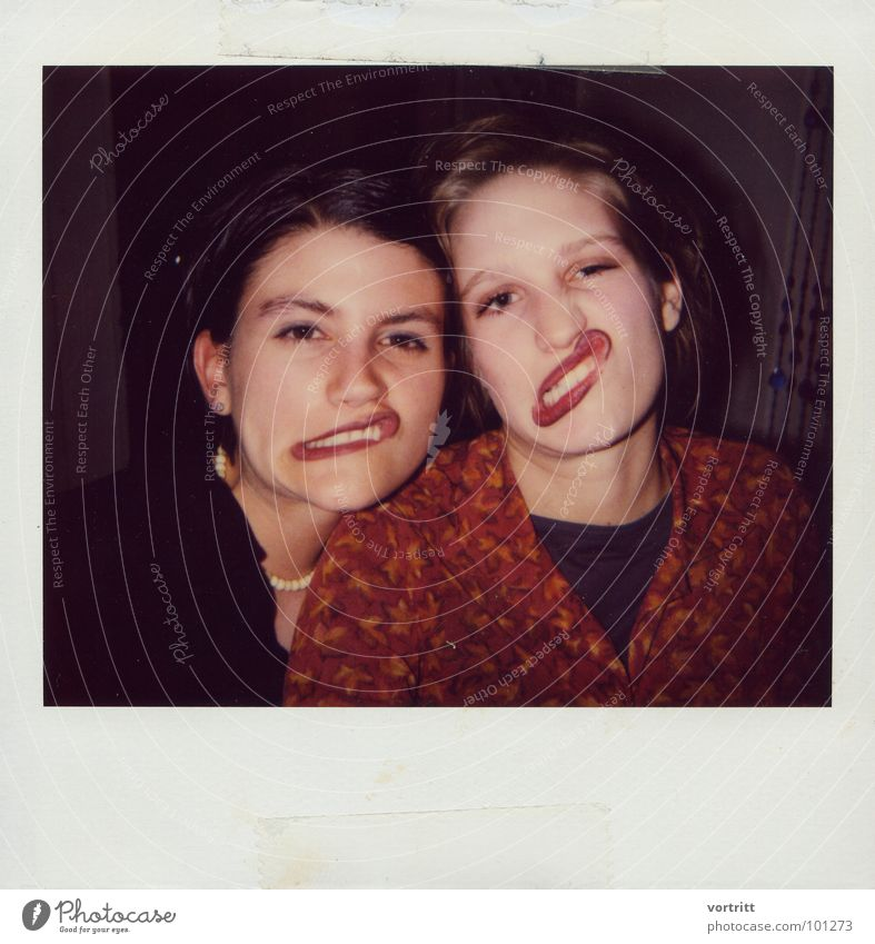 Woman Joy Face Party Mouth Lips Polaroid Grimace Distorted Exuberance
