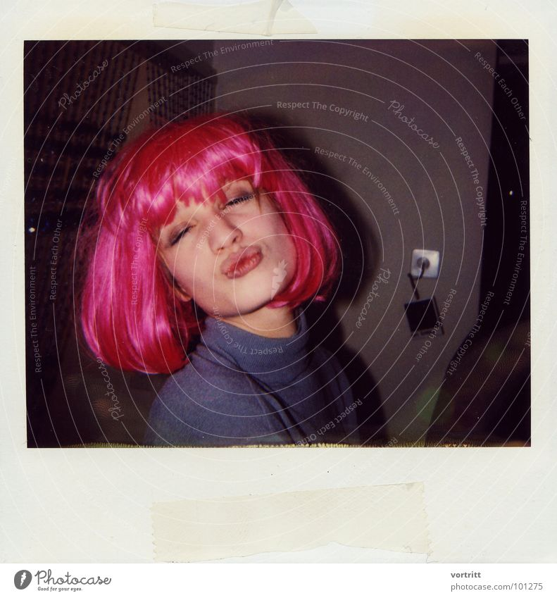 Woman Beautiful Joy Face Love Party Mouth Pink Polaroid Kissing Feasts & Celebrations Carnival Exuberance Wig