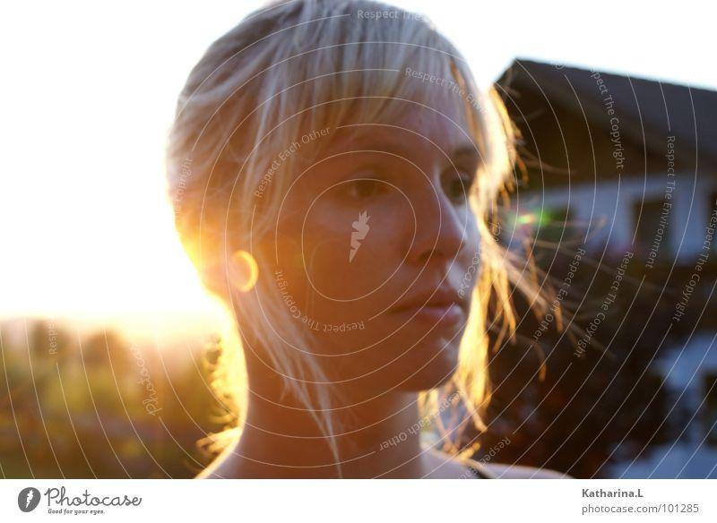 Beautiful Summer Face Loneliness Yellow Head Think Warmth Lighting Orange Blonde Modern Romance Physics Portrait photograph