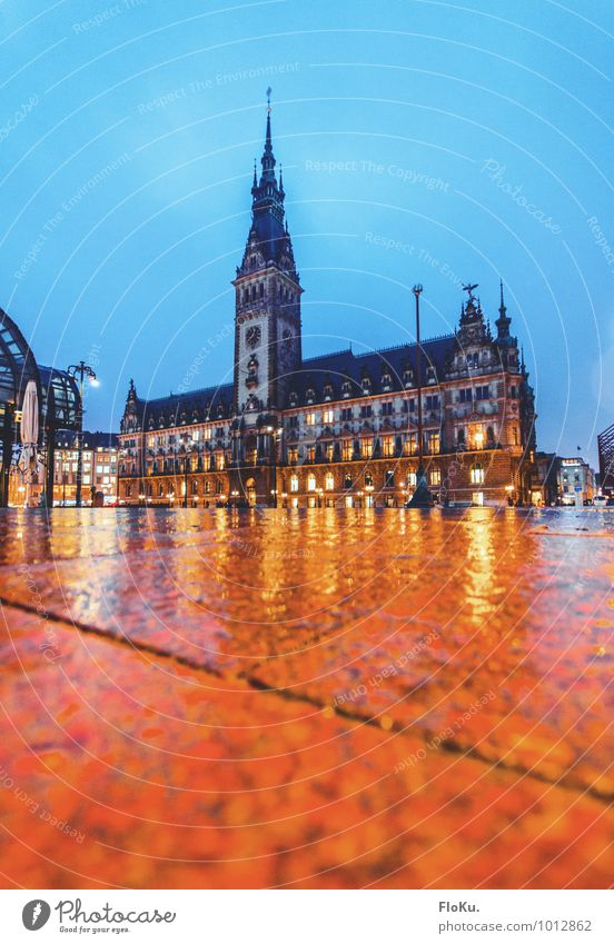 Hamburg City Hall Water Clouds Bad weather Rain Town Port City Downtown Old town Deserted Places City hall Tower Manmade structures Building Tourist Attraction
