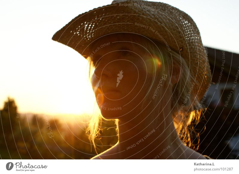 cowgirl Blonde Cowboy Sunset Summer Physics Close-up Think Dreamily Romance Beautiful Side Portrait photograph Woman Hat Warmth Evening Head Loneliness Upward