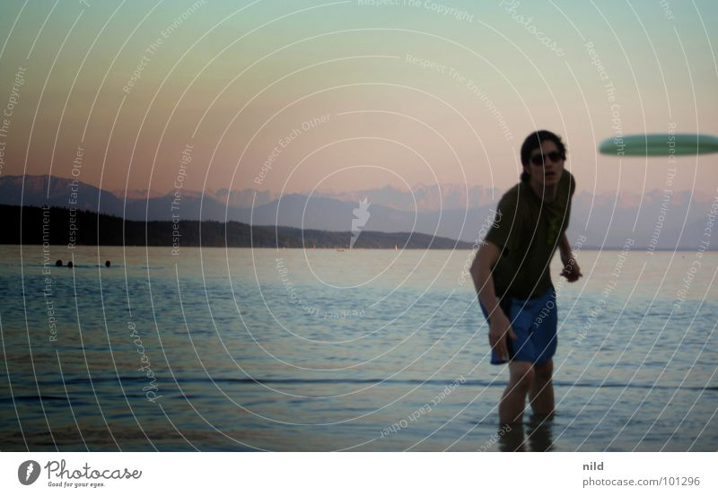 Summer Beach Joy Playing Lake Window pane Throw Sunglasses Strike Banal UFO Mountain range Color gradient Frisbee Lake Starnberg
