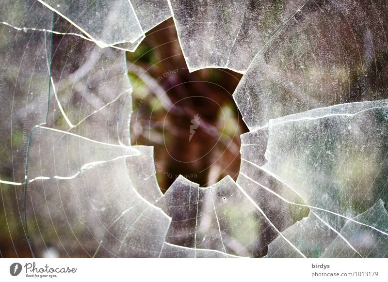 The breakthrough Window pane Glass Hollow Authentic Broken Anger Aggression Threat Change Destruction Shard Sharp thing Rupture Pane Colour photo Subdued colour