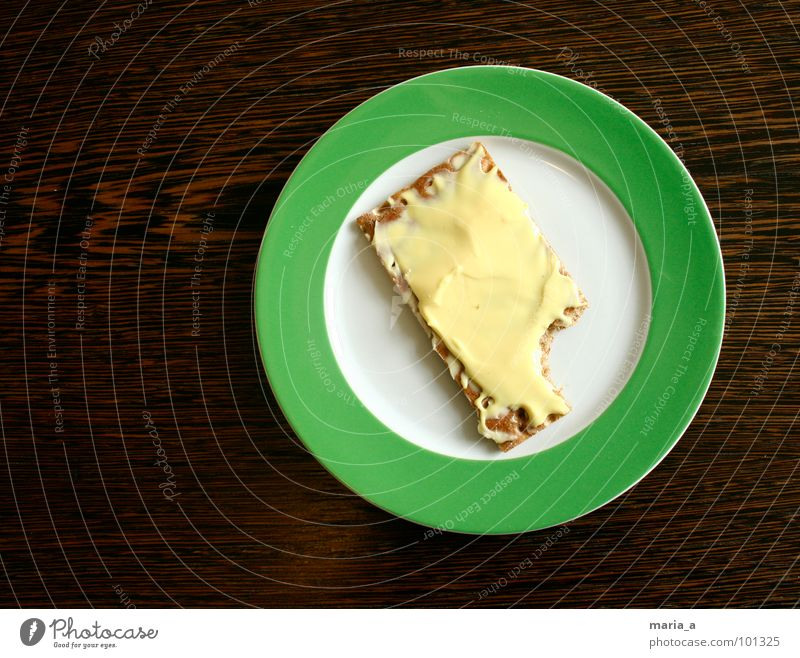 Mhhhh Plate Green Empty Crumbs Crispbread Delicious Wood Table Dark Round Stripe Breakfast Full Wholewheat Part Appetite Gouda Cheese Butter Soft cheese