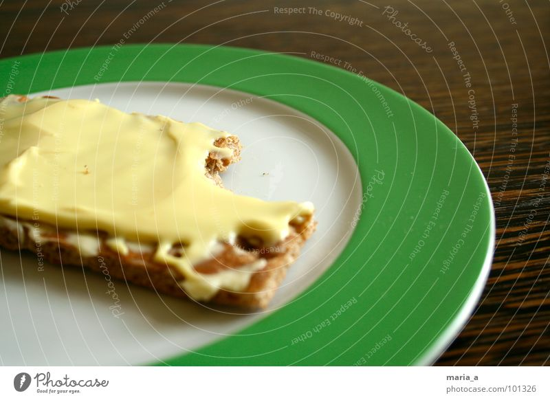 another happen Plate Green Empty Crumbs Crispbread Delicious Wood Table Dark Round Stripe Breakfast Full Wholewheat Part Appetite Gouda Cheese Butter