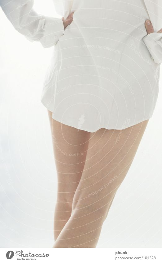 man's shirt Shirt Woman Naked Attract White Light Thin Back-light Beautiful Carrying ethereal Bright Smooth Legs Rear view white shirt nude clad Backwards