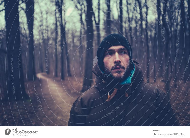 Human being Nature Youth (Young adults) Man Tree Loneliness Landscape Young man 18 - 30 years Winter Forest Cold Adults Face Autumn Head