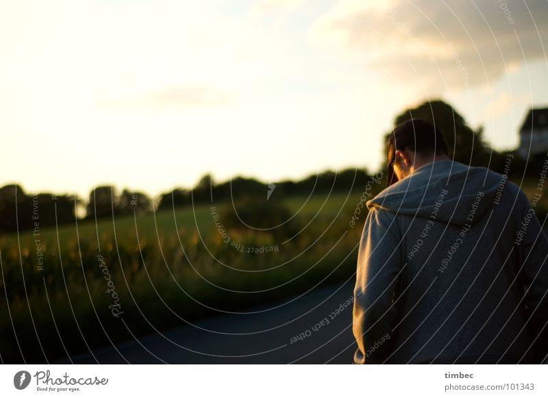 Sky Man Green Sun Clouds Dark Meadow Sadness Going Back Field Walking Masculine Gloomy T-shirt Ear