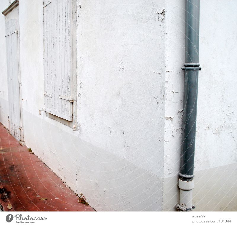 White House (Residential Structure) Loneliness Corner Derelict Hut Triangle Shutter Eaves Gutter Downspout Barricaded