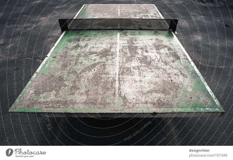 Nothing for sissies Table tennis Table tennis table Second-hand Old Rough Hard Patina Green Gray Remainder School sport Power Force Colour Schoolyard Sports