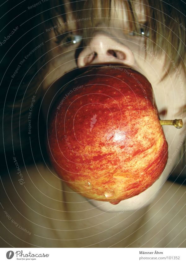 Woman Water Joy Nutrition Playing Eating Fruit Apple Bowl Bite