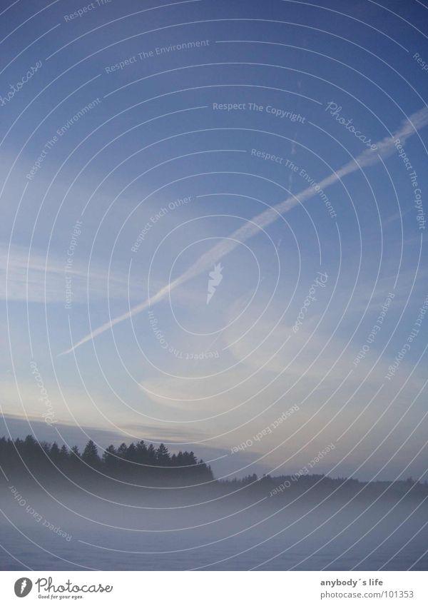 Sky Blue Loneliness Winter Clouds Forest Landscape Meadow Waves Fog Stripe Trust Unclear