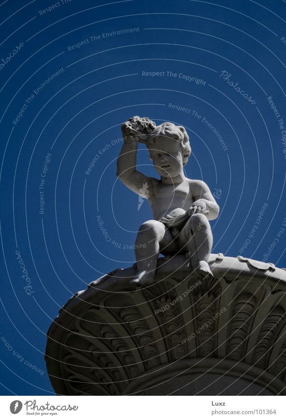 A little boy Child Sculpture Landmark Monument Looking Boy (child) Blue Baroque Marble