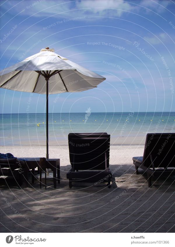 Ocean Beach Relaxation Coast Asia Sunshade Thailand Idyllic beach Koh Samui