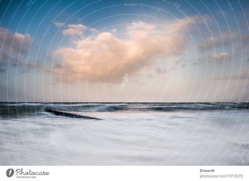 On the move Environment Nature Landscape Elements Water Sky Clouds Weather Beautiful weather Wind Gale Fog Waves Coast Beach Baltic Sea Ocean Blue Yellow Black