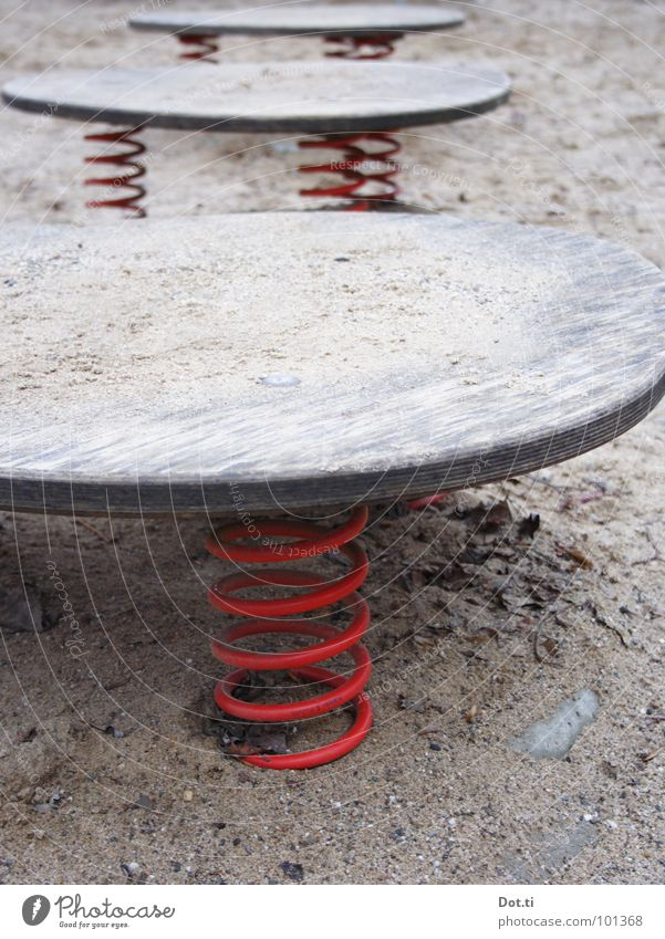 Red Loneliness Wood Sand Metal Leisure and hobbies Empty Gloomy Toys Metal coil Wooden board Spiral Playground Children's game Springboard Seesaw