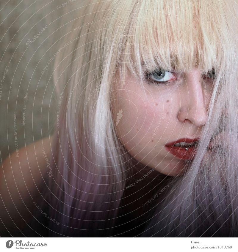 Lilly Room Feminine Young woman Youth (Young adults) 1 Human being Piercing Hair and hairstyles Blonde Long-haired Bangs Observe Looking Wait Eroticism