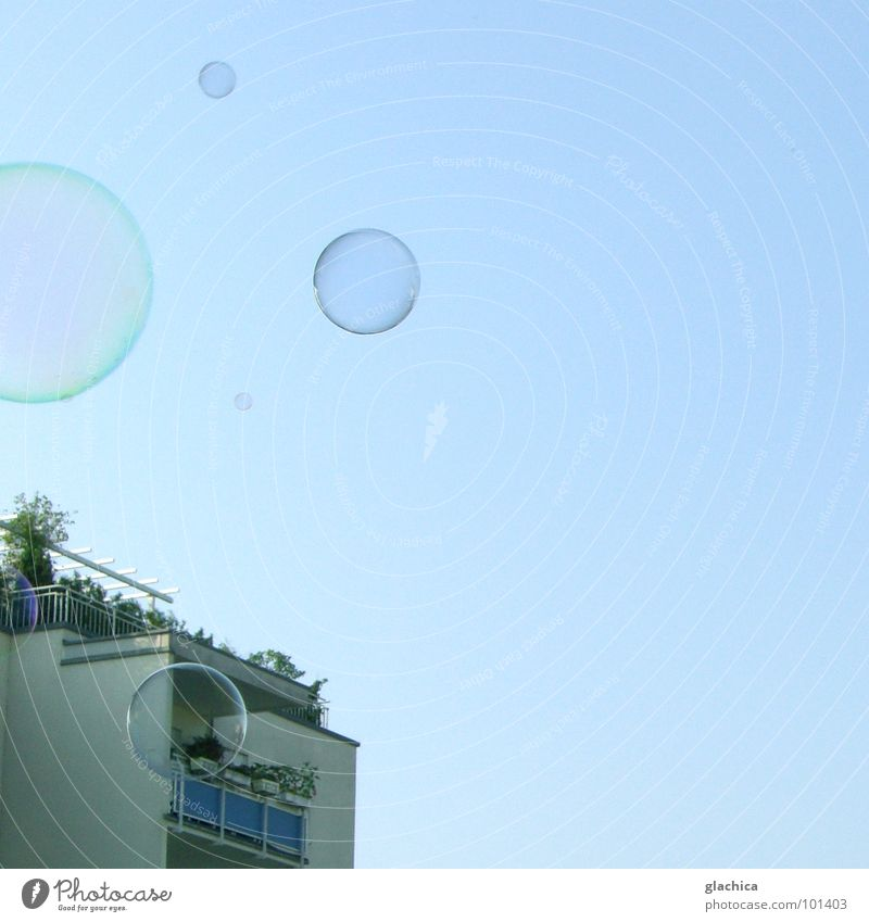 Sky Blue Joy House (Residential Structure) Far-off places Freedom Air Flat (apartment) Fresh Clarity Blow Easy Transparent Beautiful weather Soap bubble Hover