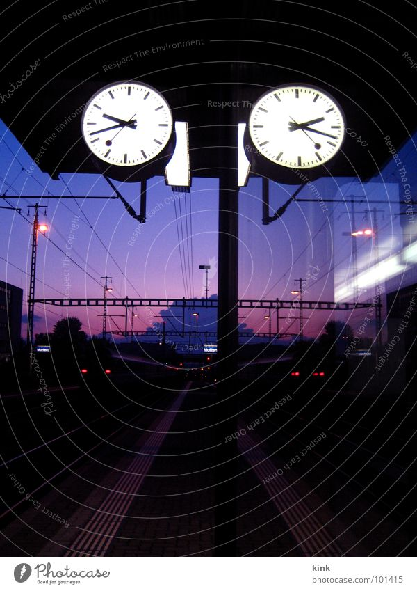 Train Station Clock Train station Railroad Railroad tracks Wait Violet Red Moody Perspective Time Vanishing point train Colour photo Exterior shot Deserted