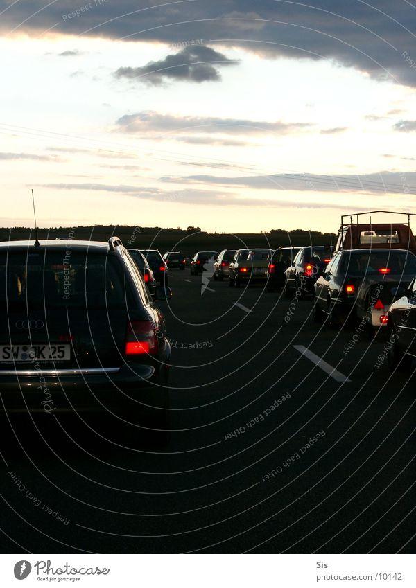traffic jam Highway Traffic jam Rear light Twilight Dark Transport Wait Evening Thunder and lightning Car Queue