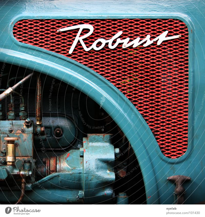 QUITE ROBUST ! Typography Curlicue Logo Design Tractor Retro The fifties Sixties Turquoise Green Agriculture Vehicle Machinery Engines Hick Gear unit Grating