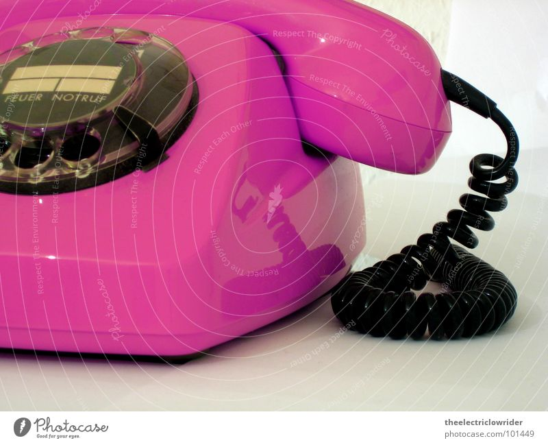 FeTAp Telephone Rotary dial Old Pink White Fire Emergency call Seventies Contact Communicate Telecommunications Deutsche Telekom Receiver Magenta Information