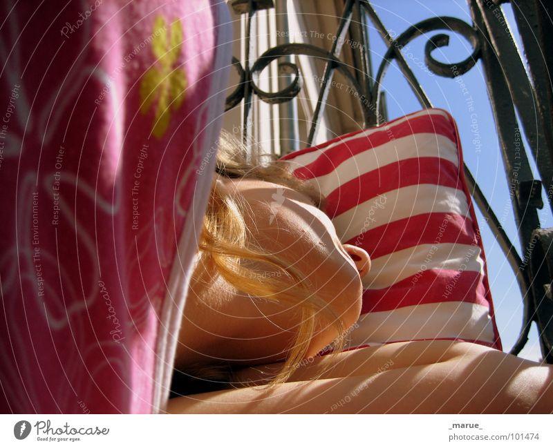 Woman Sun Dream Warmth Sleep Balcony Handrail Cushion Siesta Break
