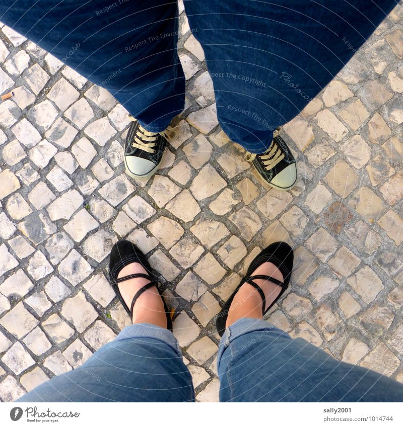 Comparison in square... Human being Legs Feet 2 Jeans Sneakers Ballerina Summer shoe Observe To talk Stand Together Hip & trendy Near Under Blue Sympathy