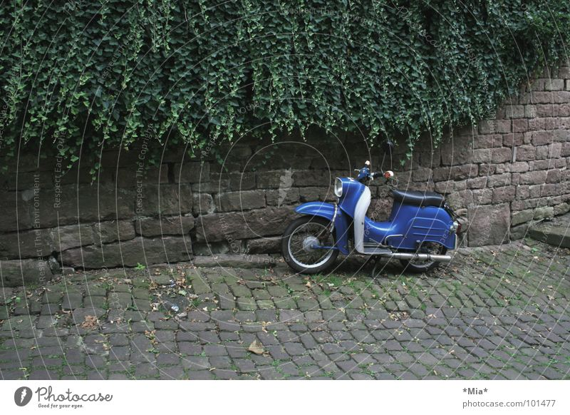 - parked - Scooter Vehicle Green Brown Wall (barrier) Dark Transport cobblestone pavement Plant Blue Bicycle handlebars Seating Subdued colour Parking