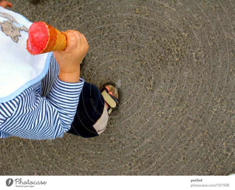 My ice cream I Waffle Child Hand Footwear Red Bib Stand Leisure and hobbies Gray White Lick Cold Toddler Ice Human being To hold on Nutrition Street Feet Bundle