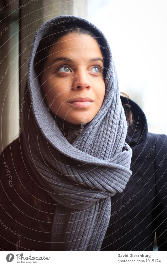 In thought Feminine Young woman Youth (Young adults) Face 1 Human being 18 - 30 years Adults Headscarf Black-haired Blue Brown Gray White Contentment Optimism