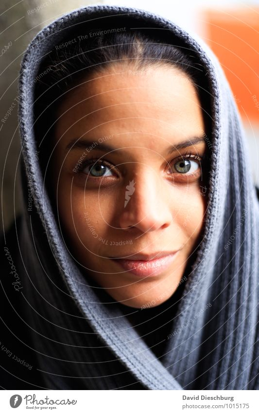 Looking in your eyes Feminine Young woman Youth (Young adults) Face Eyes Nose Mouth Lips 1 Human being 18 - 30 years Adults Headscarf Black-haired Blue Brown