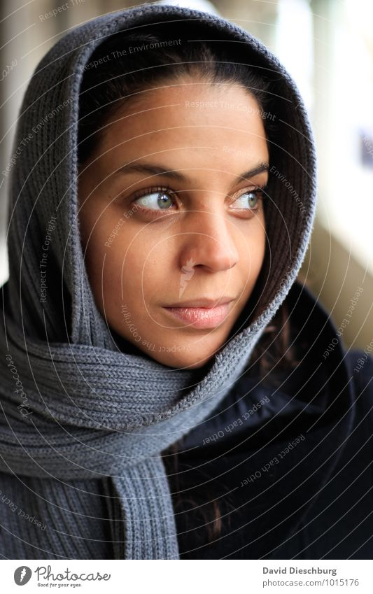 looking away Feminine Young woman Youth (Young adults) Face 1 Human being 18 - 30 years Adults Coat Scarf Headscarf Black-haired Blue Brown Yellow Gray White