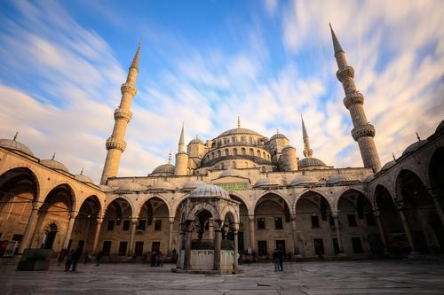 mosque Vacation & Travel Tourism Sightseeing City trip Town Downtown Palace Facade Roof Tourist Attraction Landmark Monument Blue Yellow Gray White Belief