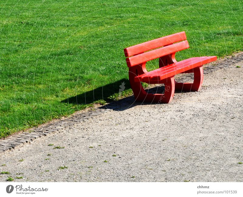 Green Red Loneliness Meadow Lanes & trails Park Wait Sit Empty Lawn Break Bench Lie Furniture Traffic infrastructure Diagonal